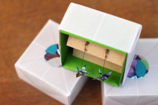 boucles d'oreilles origami bleues et vertes