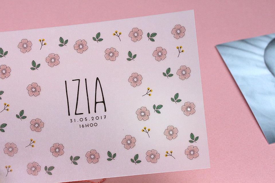 Faire-part de naissance Izia test