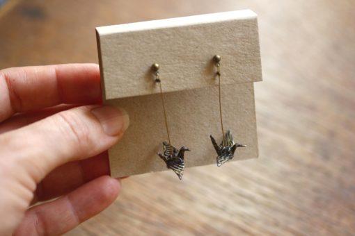 boucles d'oreilles origami noires et or