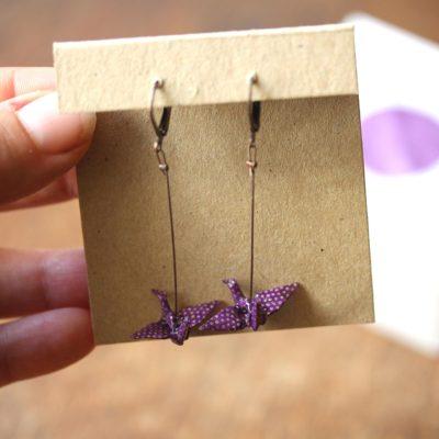 boucles d'oreilles origami violette